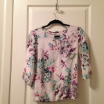 Floral blouse with keyhole